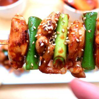 Korean Chicken Skewers and Yuja Salad