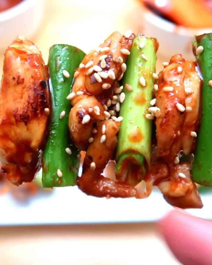 Korean Chicken Skewers and Yuja Salad
