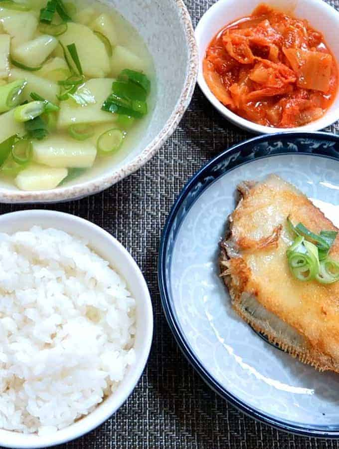 Korean Potato Soup And Grilled Sole