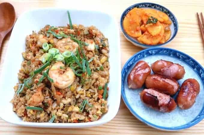 Shrimp Fried Rice – with Korean Danmuji & Mini Sausages