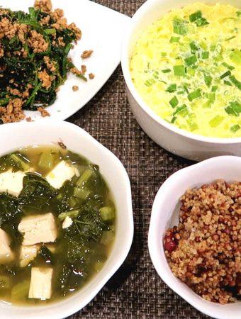 Korean Breakfast 4: Siraegi-guk, Korean Steamed Egg, Spinach Tofu Muchim