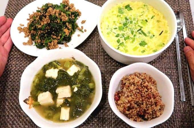 Korean Breakfast 4: Siraegi-guk, Korean Steamed Egg, Spinach Tofu Muchim