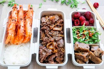 Bulgogi Dosirak, Garlic Chili Shrimp, Dotorimuk