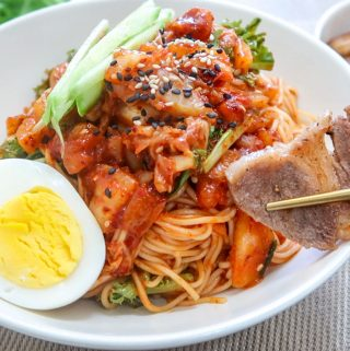 Spicy Cold Kimchi Noodles